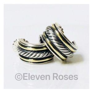 David Yurman Sterling 18k Huggie Hoop Earrings